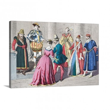 English Costumes From The Mid 16th Century Wall Art - Canvas - Gallery Wrap