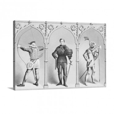 English Military Costume Mid Fifteenth Century Wall Art - Canvas - Gallery Wrap