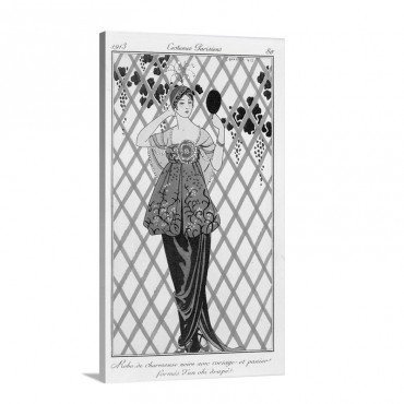 Evening Dress From Costumes Parisiens 1913 Wall Art - Canvas - Gallery Wrap