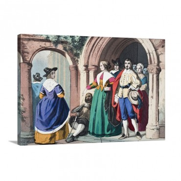 Everyday Clothes Of Ordinary English People At The Time Of King Charles I Wall Art - Canvas - Gallery Wrap
