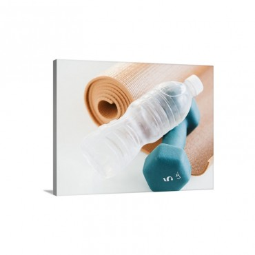 Exercise Mat Water Bottle And Weights Studio Shot Wall Art - Canvas - Gallery Wrap