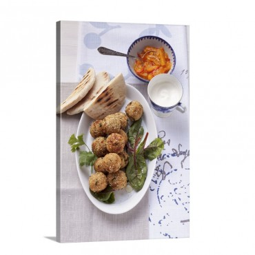 Falafel With Unleavened Bread Yogurt And Apricot Sauce Wall Art - Canvas - Gallery Wrap