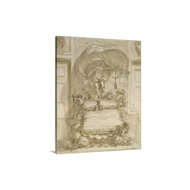 Fantastic Bed With Seahorses And Fortune Drawing By Sebastiano Ricci 1712 14 Wall Art - Canvas - Gallery Wrap