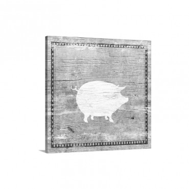 Farm Pig Silhouette Wall Art - Canvas - Gallery Wrap