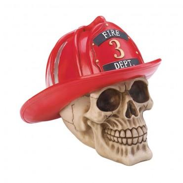 Firefighter Skull Figurine