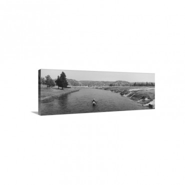 Fisherman Fishing In A River Firehole River Yellowstone National Park Wyoming Wall Art - Canvas - Gallery Wrap