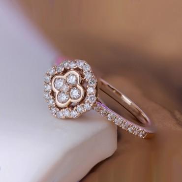 Floral Rose Gold Diamond Ring