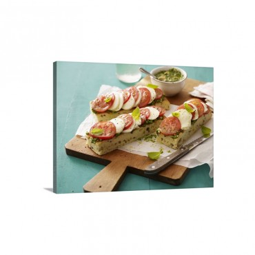Focaccia Topped With Pesto Tomatoes And Mozzarella Wall Art - Canvas - Gallery Wrap