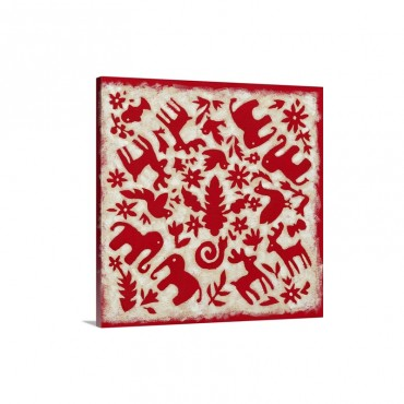 Folk Story In Red Wall Art - Canvas - Gallery Wrap