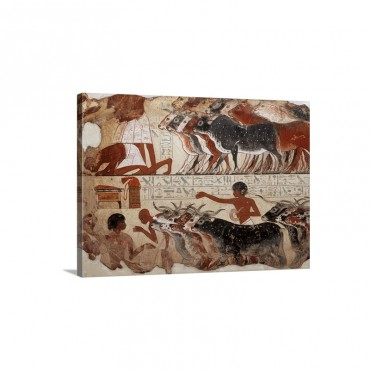 Fragment Of A Tomb Painting dDating From Around 1400 BC From Thebes Egypt Africa Wall Art - Canvas - Gallery Wrap