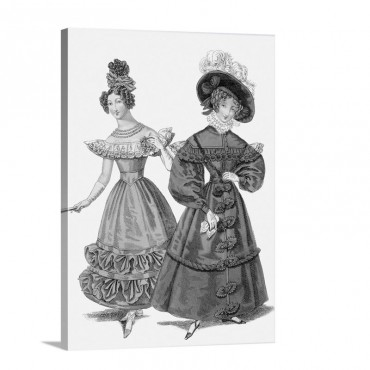 French Evening Costume And Walking Dress 1829 Wall Art - Canvas - Gallery Wrap