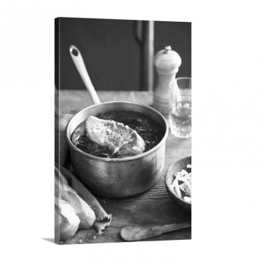 French Onion Soup With A Slice Of Baguette In A Copper Pan Wall Art - Canvas - Gallery Wrap