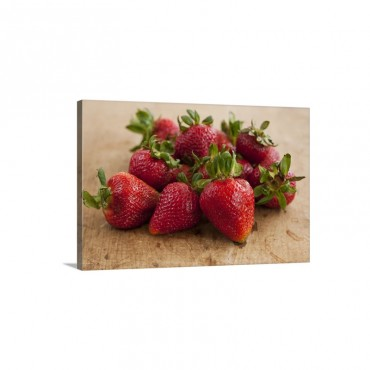 Fresh Strawberries On Table Wall Art - Canvas - Gallery Wrap
