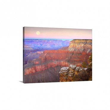 Full Moon Over The Grand Canyon At Sunset As Seen From Pima Point Arizona Wall Art - Canvas - Gallery Wrap