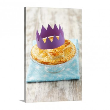 Galette Des Rois King Cake With A Paper Crown Wall Art - Canvas - Gallery Wrap