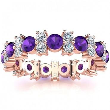 Garland Amethyst And Diamond Ring - Rose Gold