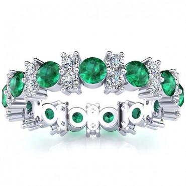 Garland Emerald And Diamond Ring - White Gold