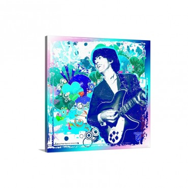 George Harrison Guitar Mosaic Wall Art - Canvas - Gallery Wrap