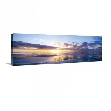 Germany North Sea Sunrise On Beach Wall Art - Canvas - Gallery Wrap