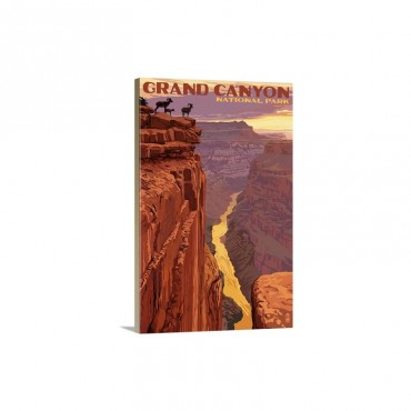 Grand Canyon National Park Bighorn Sheep On Point Retro Travel Poster Wall Art - Canvas - Gallery Wrap