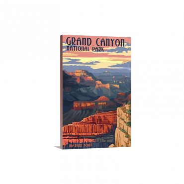 Grand Canyon National Park  Mather Point Retro Travel Poster Wall Art - Canvas - Gallery Wrap