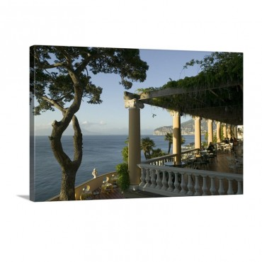 Group Of People Sitting In A Restaurant By The Sea Imperial Tramontano Sorrento Naples Campania Italy Wall Art - Canvas - Gallery Wrap