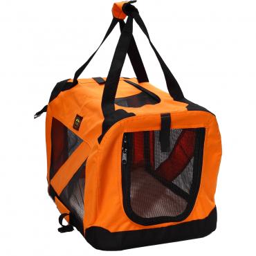 Folding Zippered 360° Vista View House Pet Crate - Orange