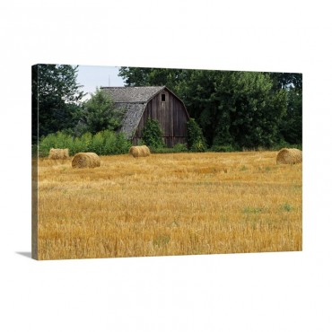 Hay Bales In Field Weathered Barn Michigan Wall Art - Canvas - Gallery Wrap