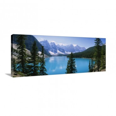 High Angle View Of A Lake Moraine Lake Valley Of Ten Peaks Banff National Park Alberta Canada Wall Art - Canvas - Gallery Wrap