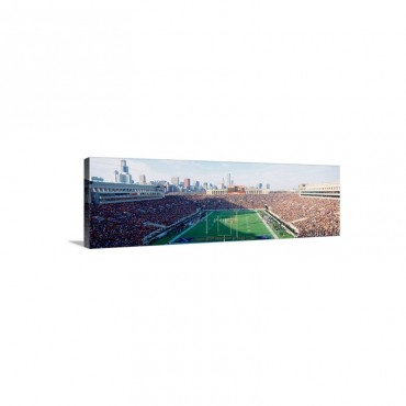 High Angle View Of Spectators In A Stadium Soldier Field Before 2003 Renovations Chicago Illinois Wall Art - Canvas - Gallery Wrap