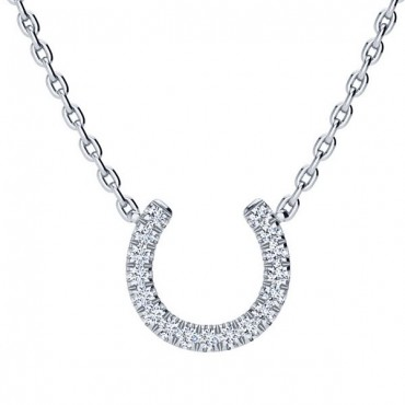 Horse Shoe Diamond Necklace - White Gold