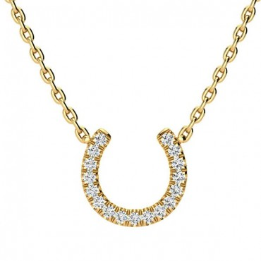 Horse Shoe Diamond Necklace - Yellow Gold