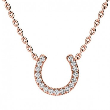 Horse Shoe Diamond Necklace - Rose Gold