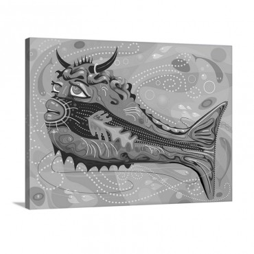Imaginary Bull Fish In Swirling Sea Wall Art - Canvas - Gallery Wrap