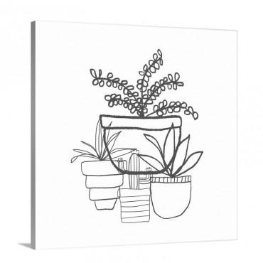 Indigo Succulents Wall Art - Canvas - Gallery Wrap