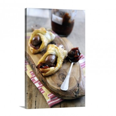 Italian Sausage With Sweet Pepper Relish In Puff Pastry Rolls Topped With Sesame Seeds Wall Art - Canvas - Gallery Wrap