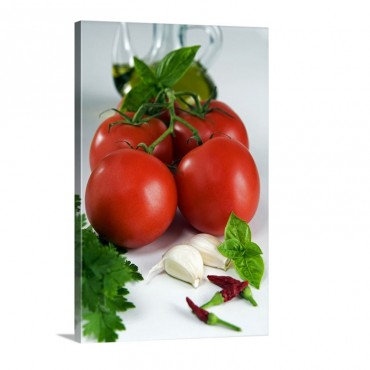 Italy Food Ingredients For Tomato Sauce Traditional Wall Art - Canvas - Gallery Wrap