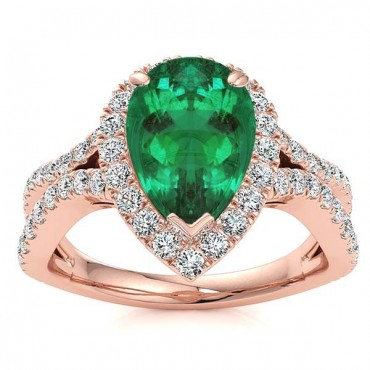 Jasmine Emerald Ring - Rose Gold