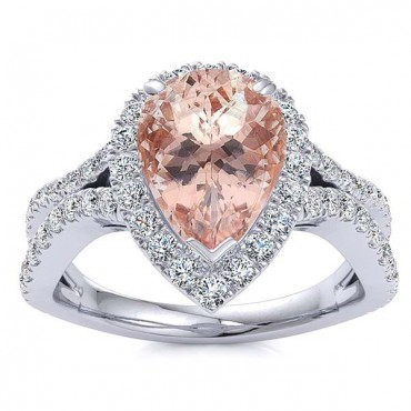 Jasmine Morganite Ring - White Gold