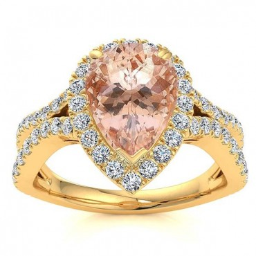 Jasmine Morganite Ring - Yellow Gold