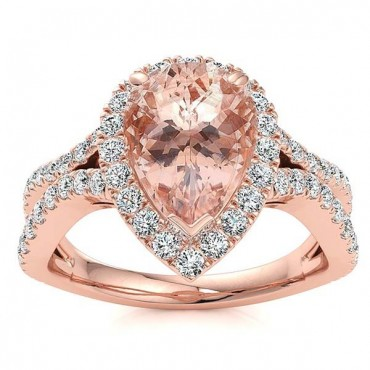 Jasmine Morganite Ring - Rose Gold