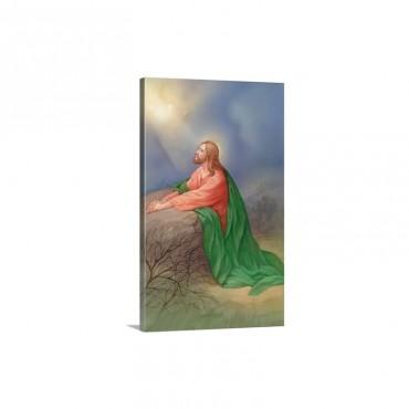 Jesus kneeling By A Rock Praying Wall Art - Canvas - Gallery Wrap