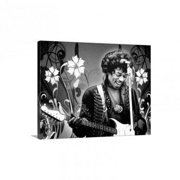 Jimi Hendrix Red Floral Wall Art - Canvas - Gallery Wrap