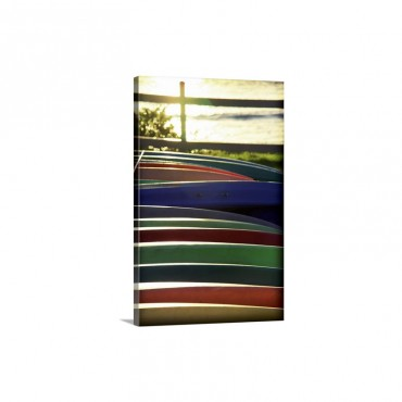 Kayak Row Wall Art - Canvas - Gallery Wrap