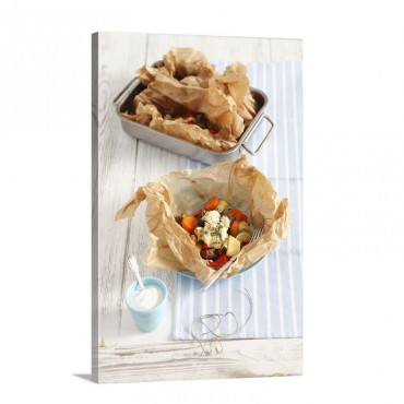 Kleftiko With Pork Vegetables And Ewe's Cheese Wrapped In Baking Parchment Wall Art - Canvas - Gallery Wrap