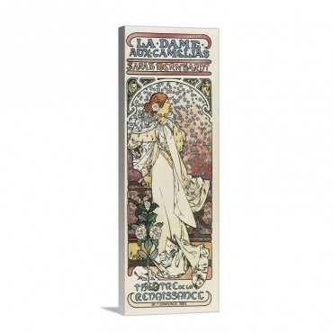 Lady Of The Camellias 1896 By Alphonse Maria Mucha Lithograph Wall Art - Canvas - Gallery Wrap