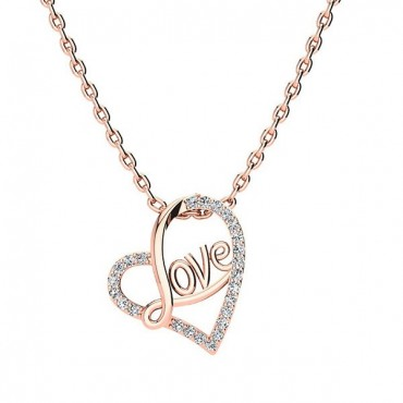 Love Diamond Necklace - Rose Gold