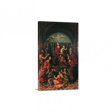 Madonna Saints And Angels By Marco D'Oggiono 16th C Milan Italy Wall Art - Canvas - Gallery Wrap
