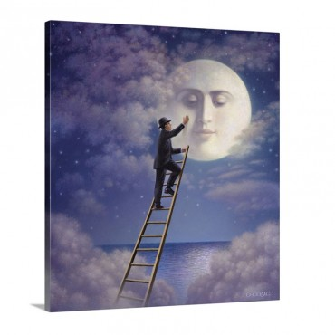 Man With Moon Wall Art - Canvas - Gallery Wrap
