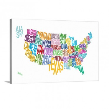 Map Of USA Showing State Names In Text Wall Art - Canvas - Gallery Wrap